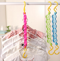 Wholesale Space Saver Wonder Magic Clothes Clothing Hangers Closet Organizer Double Hooks Windproof Travel Racks ABS NEW