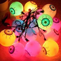 Wholesale 20 Leds Eyeball Strings Horrible Halloween Theme Party M LEd String Light Terror Eyeball Strand Flashlight Christmas Festival Decoration