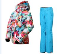 Wholesale 2015 new Hot sale women s ski suit jacket with hat thicken pants warm waterproof windproof