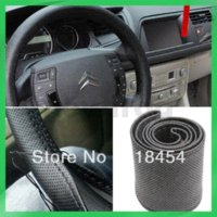 Wholesale 2013 New Popular Cream colored DIY Car Genuine Leather Steering Wheel Cover With Hole Size M Free Post M47906