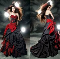 red ball gown wedding dress - Sweetheart Taffeta Tulle Gothic Wedding Dresses Ball Gowns Corset Back Floor Length Halloween Black And Red Wedding Dresses VT