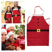 apron suppliers - New Christmas Kitchen Bar Home Decorations Santa Claus Unisex Aprons Red Non woven Xmas New Year Family Household Party Supplier