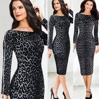 leopard - Leopard print women summer dress novelty zipper on sleeve pencil dress new fashion sexy OL bodycon Dresses