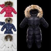baby raccoons - New Real Raccoon fur hooded Rompers Winter baby snowsuit duck down jumpsuit baby boy girl newborn Romper infant boys girls snowsuit