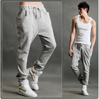 mens cargo pants - 2015 New Fashion Men Jogger Pants Loose Mens Sports Pants Cargo Pants Slim Trousers Cotton Solid M XXXL Casual Sports Trousers Wholesales