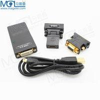Wholesale 2 USB UGA to DVI VGA HDMI Multi Display Dual Monitor Converter Graphic Adapter