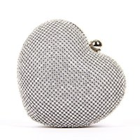 Wholesale Cheap Silver Clutch Purses - Heart style crystal evening bags shining rhinestone bridal clutch wedding party bags 2016 cheap crystal purses wholesale
