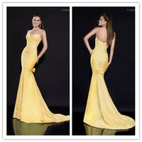 Cheap Tarik Ediz 2015 Yellow Evening Gowns Panel Train Spaghetti Bow Celebrity Prom Dress Floor Length Sleeveless Lace layers Prom Dresses sq0345