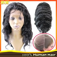 Wholesale 8 quot quot Full Lace Wigs Indian Brazilian Remy Hair B Body Wave Human Hair Glueless Density Lace Wigs Hand Tied Wigs DHL