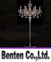 Wholesale llfa787 heads crystal light Luxury crystal floor lamp bedroom candle floor lamp Crystal Vintage luxury standing floor lamps