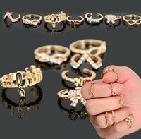 Cheap 7Pcs Set Gold Punk Bowknot Infinity Cross Crystal Stack Knuckle Midi Mid Rings Set Ring Jewelry