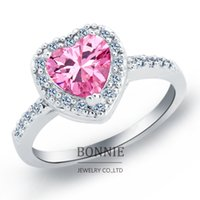 Wholesale Lovers gift white red pink crystal love heart ring fashion women shinning CZ diamond gemstone rings sterling silver plated rings SR0669
