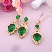 african gems - WesternRain Green Austrian Gem pendant K Gold Plated Necklace Pendant Earrings Party Jewelry set A552
