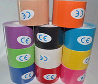Wholesale 11 Colors cm x m kinesiology tape Roll Cotton Elastic Adhesive Muscle Sports Tape Bandage Physio Strain Injury Support HHA64