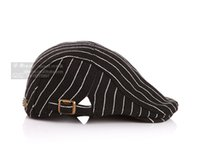 hats elegant - 2015 Hot Sale New Punk Style Children Ear Muff Striped Satin Weave Hat For Kid Elegant Cat Pattern Two Botton Duckbill Cap For Children CR95