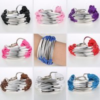 Wholesale Trendy black leather chain bracelet bangles silver tube fashion bracelet for women and men Manual handmade bracelet jewelry