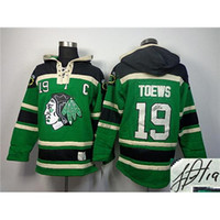 best hoodies for men - Jonathan Toews Autographed Ice Hockey Hoodies Green Blackhawks Hockey Jackets Best Lace Up Pullover Hooded Sweatshirts for Men Players