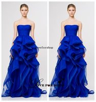 Wholesale 2015 Attractive Strapless A Line Royal Blue Organza Prom Dresses reem acra Upscale Puffy Ruffle Evening Gown Celebrity Party Dresses L021117