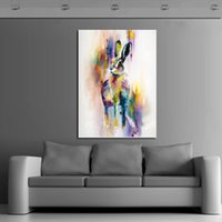 arts rabbit - Handpainted Animal Wall Pictures Lovely Cute Rabbit Art Abstract Oil Painting On Canvas For Home Decor Hang Wall Paintings