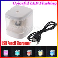 battery operated pencil sharpener - Colorful Flashing Automatic USB Battery Operated Electric Color Change Pencil Sharpener Cutter Knife LED Light AUTO Desktop