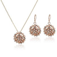 Wholesale Party Jewelry Rose Gold Plated Pearl Jewelry Sets With Rhinestone Necklace and Earrings Woman Jewelry For Women Sets JS0085