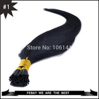 Wholesale Fusion pre bonded stick hair I tip Keratin hair extensions g strands jet black indian Remy Human Hair Tip hair