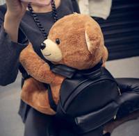 Wholesale 2015 new fashion backpack shoulder bag men and women backpack little monster travel backpack schoolbag pu leather Stuffed animals Bear