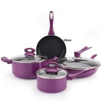 Envío-Al por mayor libre 7pcs púrpura de cocina ollas establecen aluminio juego de ollas thicking cacerolas sartenes trabajan en cocina de inducción