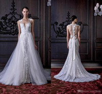 Wholesale Elegant Overskirts Wedding Dresses With Detachable Train Deep V Neck Full Lace Summer Bridal Gowns For Western Country Wedding