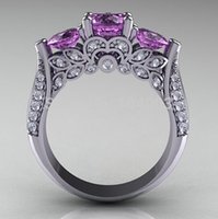 Cheap Size 6 7 8 9 Rings For Women 10KT White Gold Filled CZ Zircon Amethyst Finger Ring Christmas Gift Best Selling