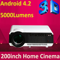 Wholesale Android Wifi Projector D W High Power LED Lamp lumens RJ45 HDMI USB VGA AV SD TV