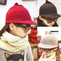 black felt hat - Girls Hats Christmas Children Kids Winter Woolen Bow Felt Caps Equestrian hat Warmth Fishman Bucket Peaked Hat Gray Red Black K2201
