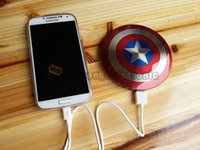 america direct - Universel mAh USB power bank charger external Battery Captain America Shield for iPhone Samsung HTC with package sets