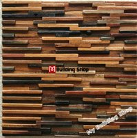 Wholesale Natural wood mosaics D mosaic wall pattern tiles NWMT021 kitchen backsplash mosaic wood panel strip tile mosaic tiles