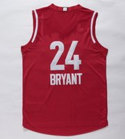 Baseball basketball apparel - 2016 All Star Kobe Bryant Jersey Red Basketball Jerseys Cheap Men s Shirts Hot Sale Athletic Apparel High Quality Basketball Wear