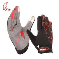 Wholesale MOON Touch Screen Bicycle Gloves Full Finger Non slip Colors Bike Gloves Breathable Outdoor Sports Top GEL Windproof Cycling Gloves