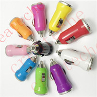 Wholesale Colorful Universal Bullet Mini USB Car Charger Adapter cigarette lighter for iphone S S G Galaxy S4 S5 ipod MP4