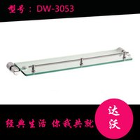 Wholesale Single stainless steel bathroom glass shelf Fenced thick makeup Taiwan factory direct