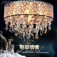 Wholesale European style led ceiling lamp living room lamp round crystal lamp bedroom romantic warm dining room crystal ceiling lamp