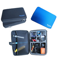 Wholesale TELESIN Case Black Blue Large Size Protective EVA Bag Storage Box For GoPro HD Hero SJ4000 xiaoyi