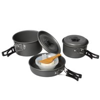 Cheap Wholesale-Portable Outdoor Anodised Aluminum Cookware Cooking Set Camping Cooker Pot Pan Bowl Pinic Equipment 2-3 people