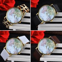 atlas glass - Popular personality map Watch atlas plat Leather world map Geneva watches leisure men women fashion Unisex watches three color gift