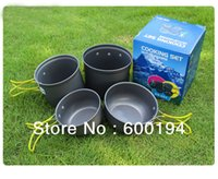 anodised aluminium cups - Outdoor camping cookware pan bowl cup tank burner person family hard anodised aluminium camping picnic cooking set