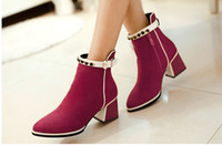 Cheap 2014 fashion High quality rhinestone buckles female ankle boots heels women boots and women's snow autumn winter shoes Naked boots NXZ116