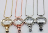 living lockets - 10pcs mm round Large rhienstone colors lanyard live locket magnet lanyard locket chains included