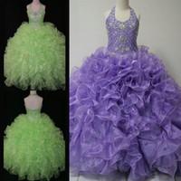 Robes Pageant Glitz Real Photo Little Girl 2015 Toddler Halter cristaux Lavande Vert Ruffle Robe bébé pour Kid Parti robe de bal Robes
