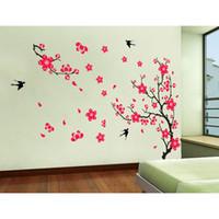 beautiful flower graphics - DIY Home Decoration Plum Blossom Prunus Mume Flowers Swallow Beautiful View of Spring DIY Wall Stickers Art Decor Mural Room