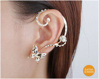 Wholesale 2015 Retro Butterfly Flower Crystal U Shape Ear Cuff Cartilage Stud K Gold Plated Fashion Earrings for Women Ear Jewelry Gift
