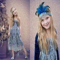 Wholesale Sweetheart Neckline Flower Girl Dresses - Lovely Long Sleeve Flower Girls Dresses Sweetheart Neckline Lace Princess Kids Wear Tea Length Girl Pageant Ball Gown