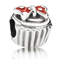 cupcake charm - bracelet Cupcake charms silver mickey bead Pendant sterling silver Bracelet CE475